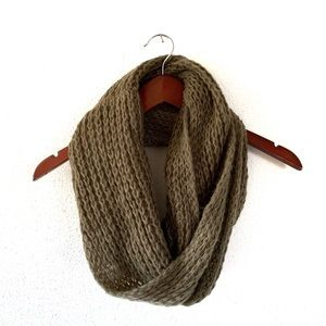 Olive Green Cozy Knit Fall Circle Scarf